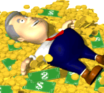 Man in pile of cash